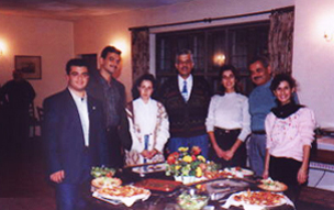 Judge Ghassan Rabah with BAX students from the Lebanese University and a meal they prepared for their hosts, 1994