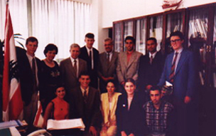 President of the Lebanese University, Dr Assaad Diab welcomes British BAX students, 1997