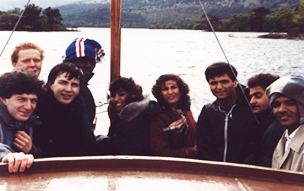 Jordanian and Sudanese students with British hosts on Loch Lomond, Scotland, 1986